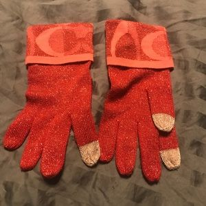 Coach gloves with touch screen finger tips